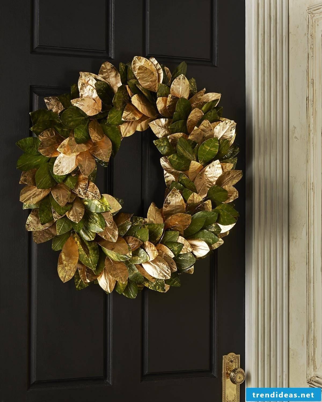 Gold green Christmas wreath