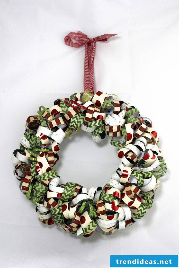 Christmas wreath of paper garlands