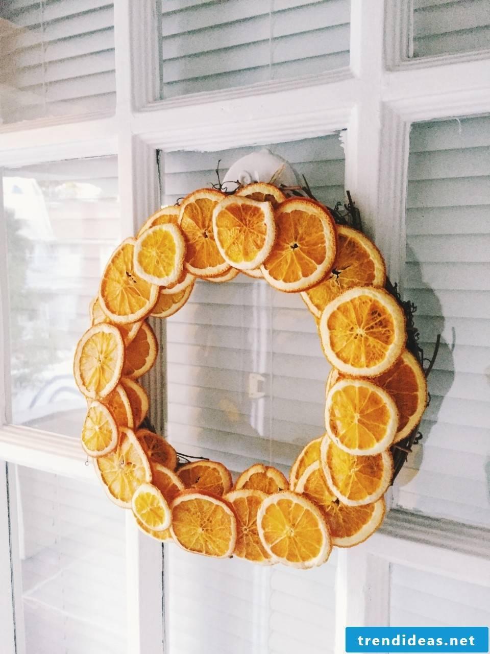 Christmas wreath of dried orange slices