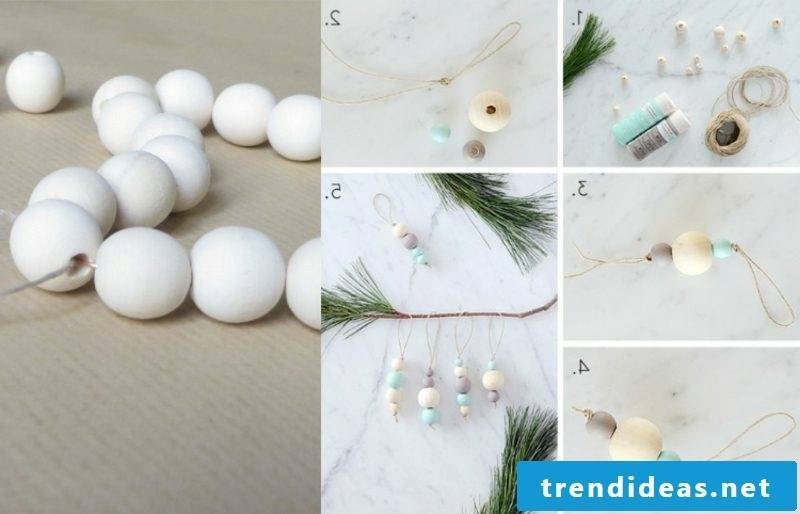 Christmas crafts Christmas decoration made of wooden beads