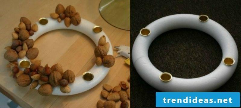 Handicrafts for Christmas Advent wreath Styrofoam circle based