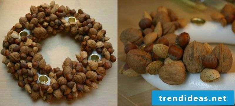 Christmas crafts Advent wreath Natural materials Nuts