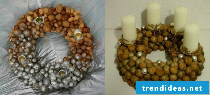 Advent wreath made of nuts themselves are creative DIY ideas