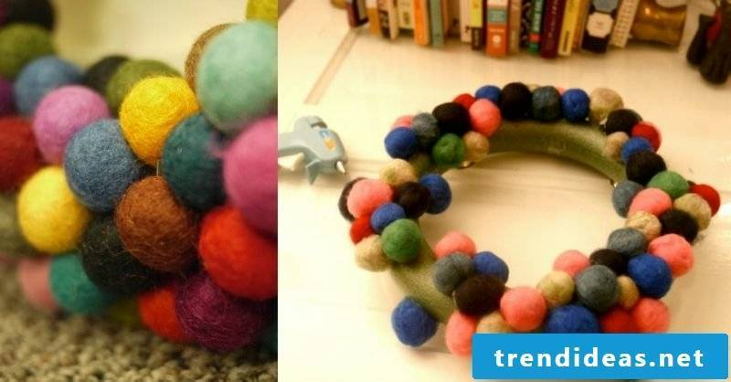 Christmas crafts with children Advent wreath of colorful felt balls