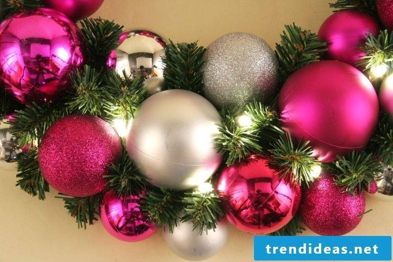 Christmas decorations Wreath of balls and pine branches