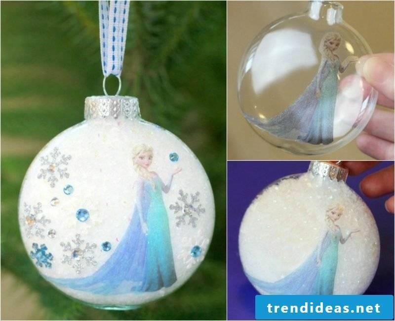 Christmas crafts with children original Christmas tree balls Frozen