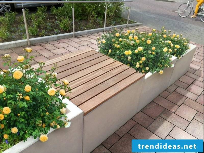 Concrete planter with seat element