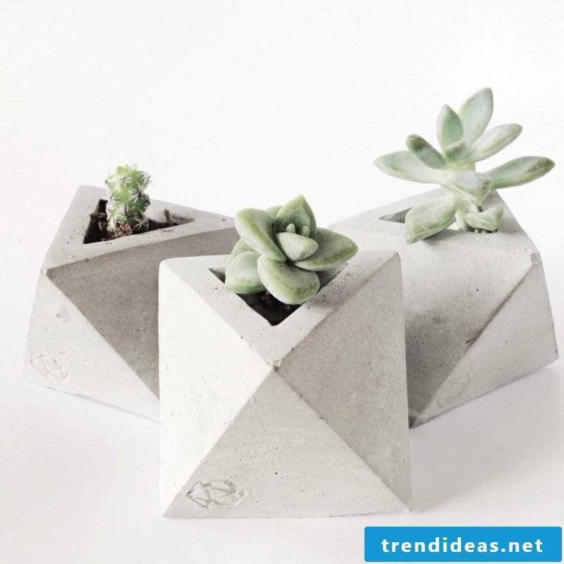 Flower pots made of concrete geometric shapes