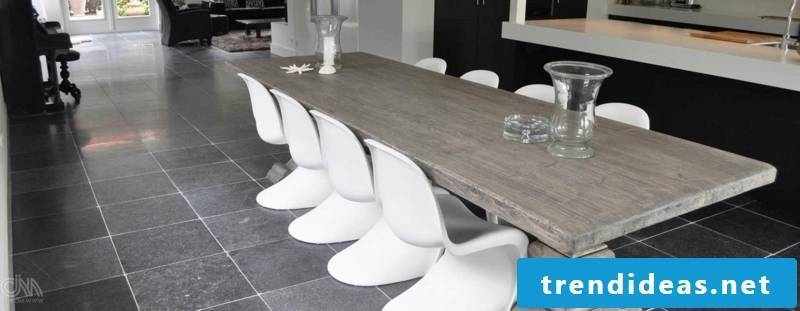 concrete tiled dining area