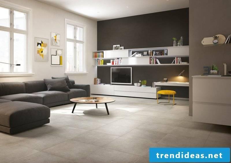Concrete tiles in the private living area