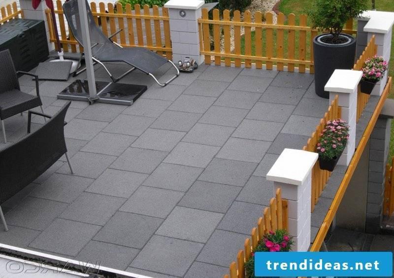 concrete tiles outside area
