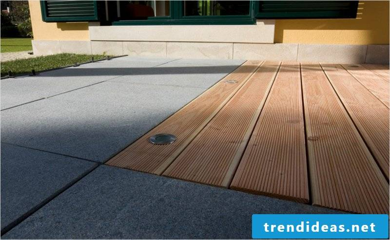 concrete tiles combination with wood
