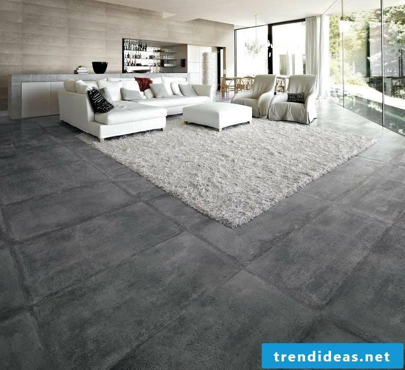 concrete tiled living room
