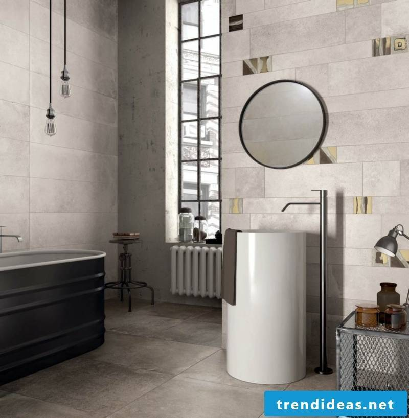 concrete tiled bathroom