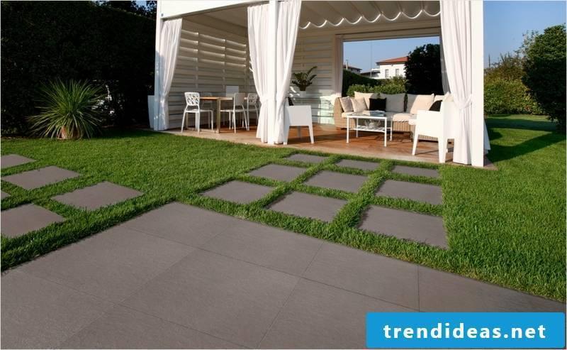 concrete tiles and grass