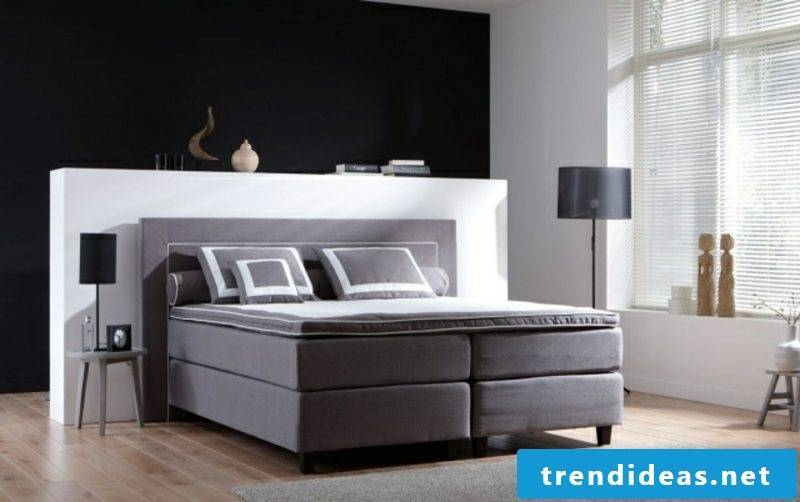 high boxspring bed elegant look dark gray upholstery