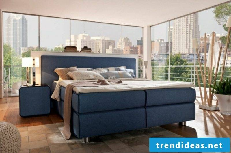 modern bedroom gorgeous box spring bed in blue