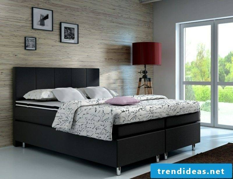 Boxspring bed in black high mattress
