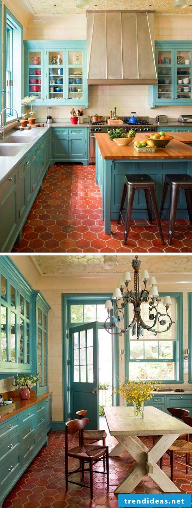Mediterranean country kitchen - great combination of colors