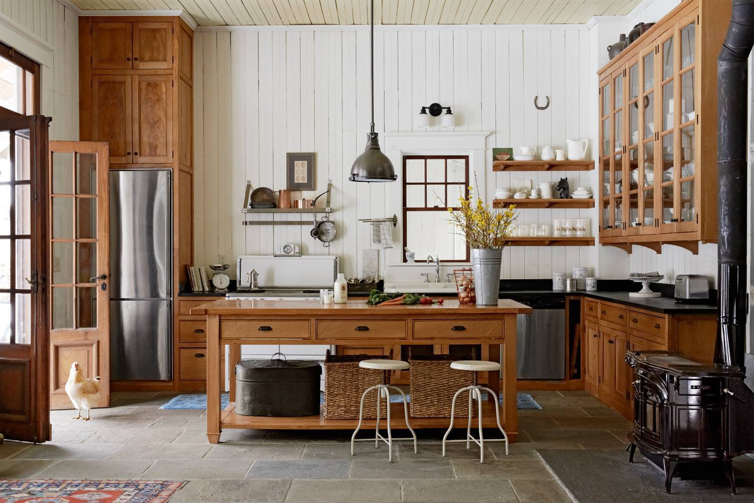 Modern country kitchen made of wood