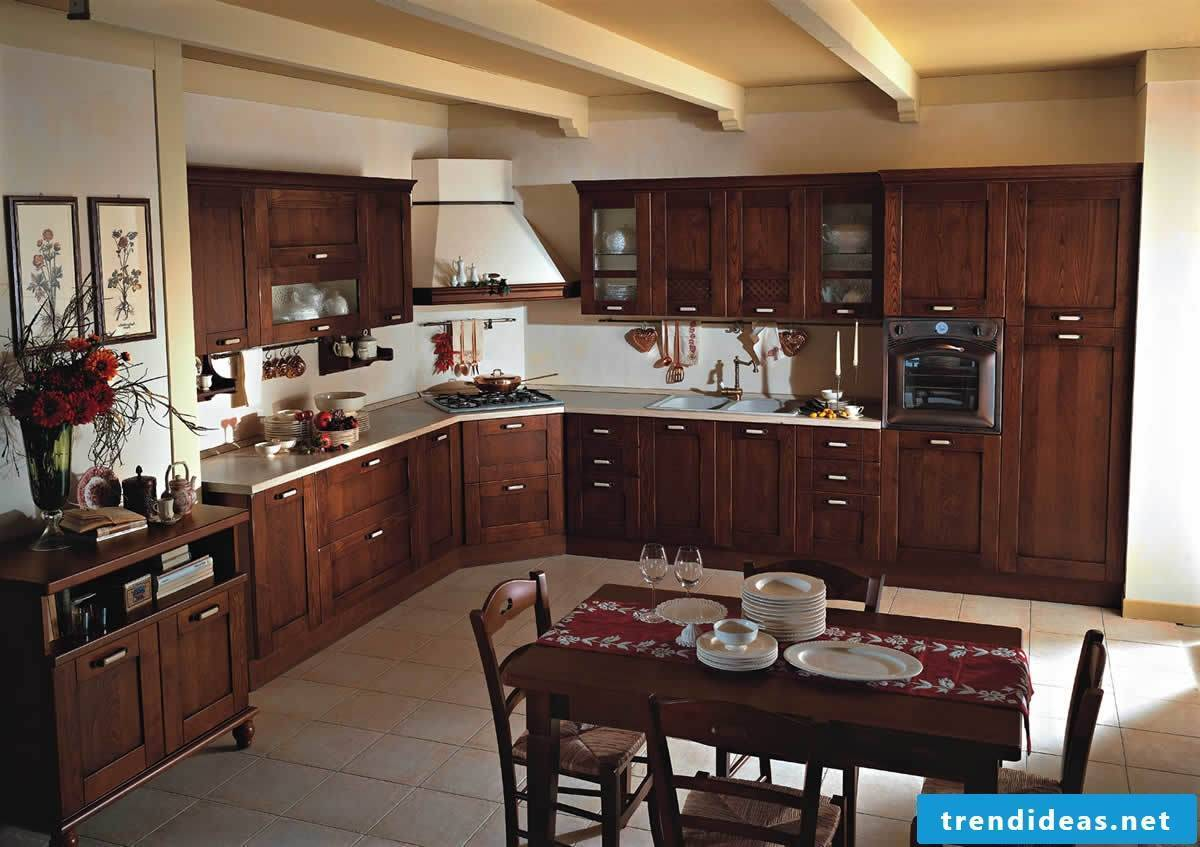 Simple country-style kitchen made of dark wood