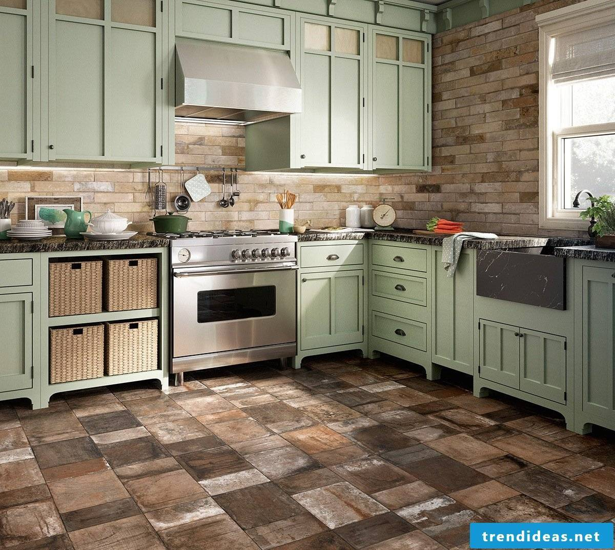 Pastel kitchen in country style- Great combination with stones
