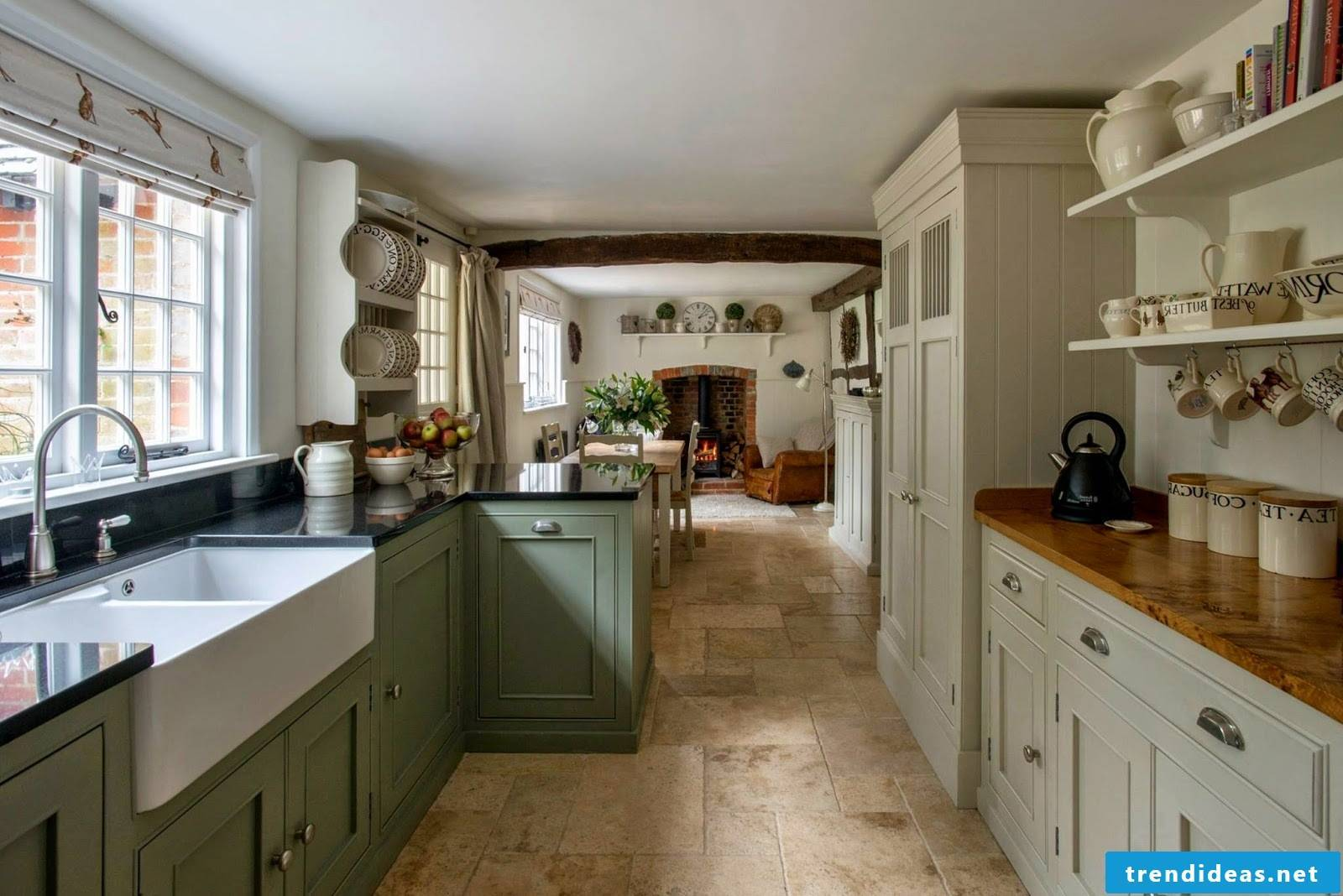 Romantic country kitchen in pastel colors