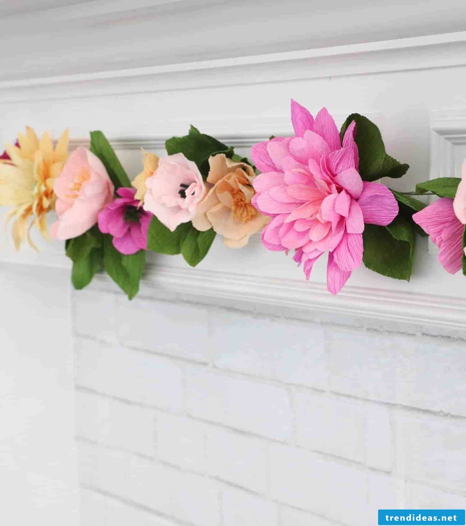 Handicrafts for nursery wall decor with crepe paper flowers