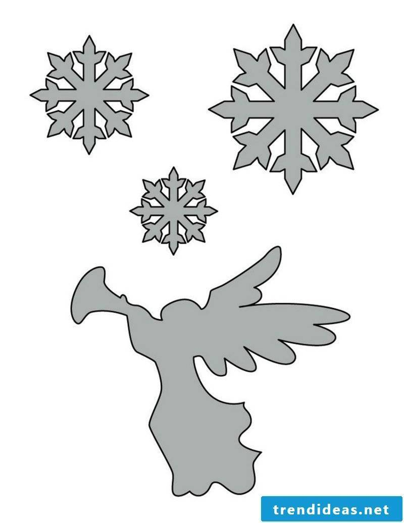 Craft templates for Christmas stencils of snowflakes and angels