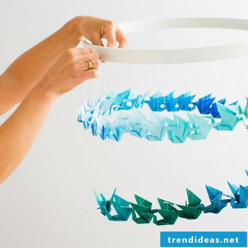 DIY paper birds in different blue nuances