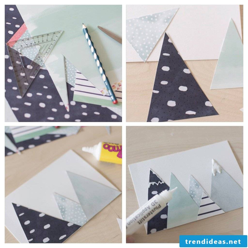 Step by step instructions for Christmas card making