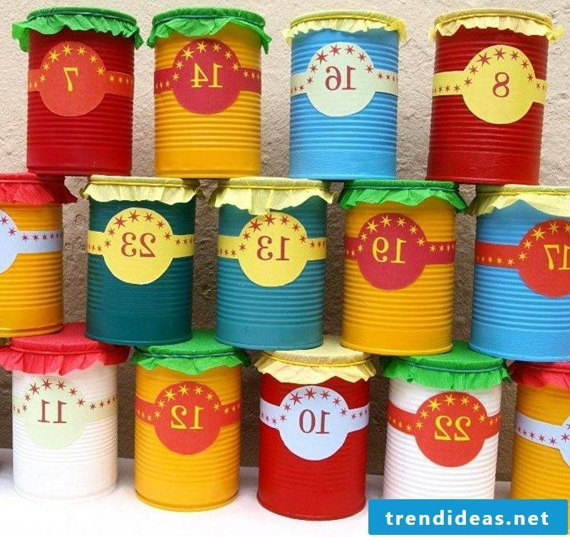 Advent calendar of colorful cans creative DIY ideas