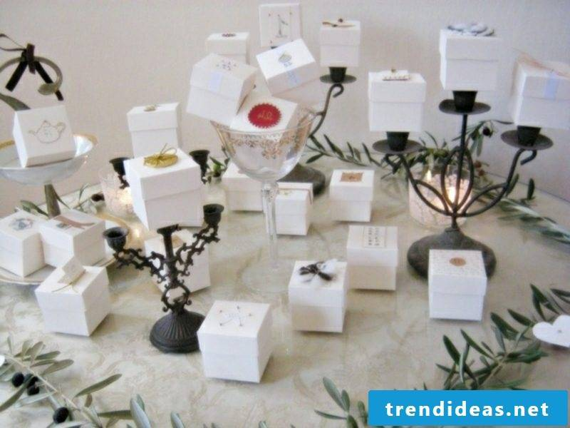 Christmas decoration advent calendar boxes made of paper