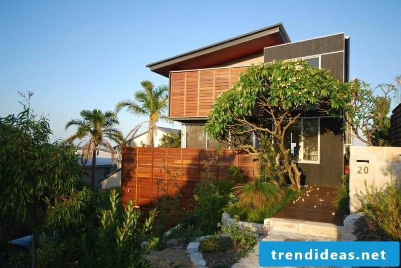 Front garden framing exotic plants palms