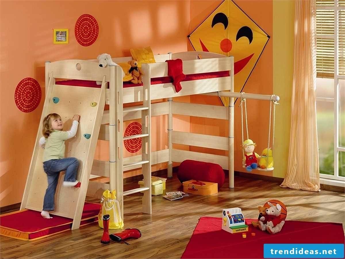 Funny nursery with climbing wall