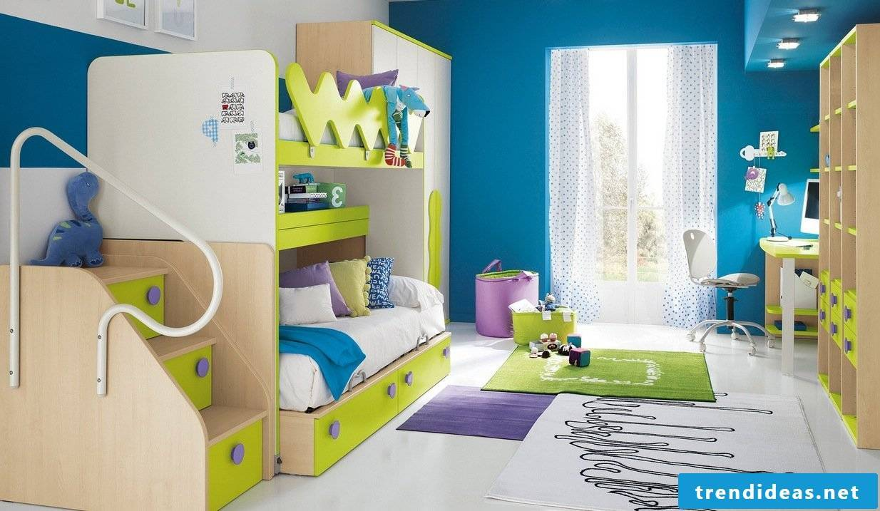 Children's room in fresh colors for two children