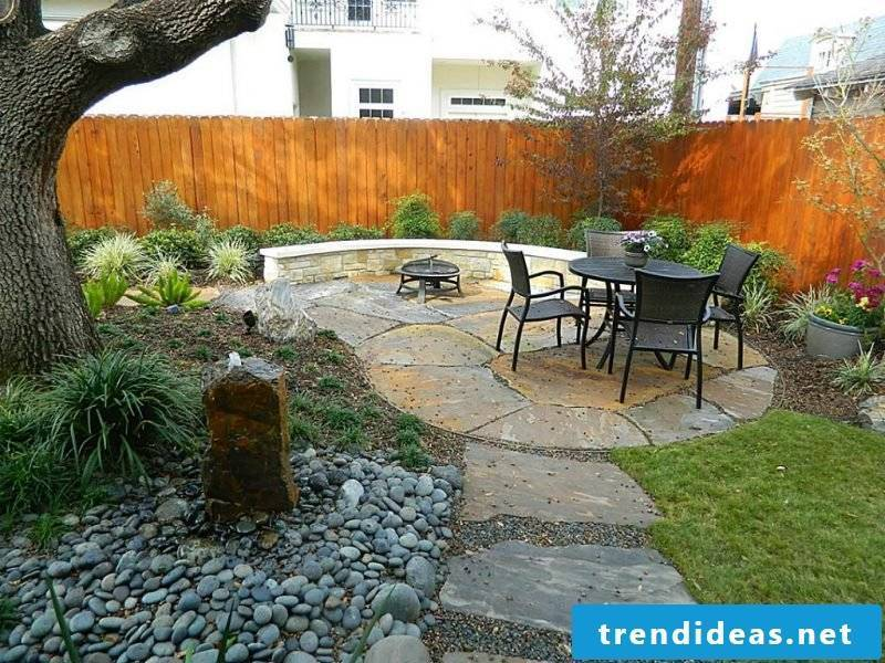 Create a stone bed to create a recreational area in the garden