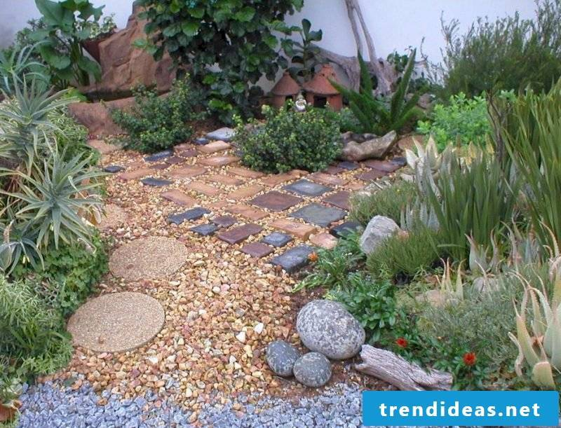 Lay a stone bed with different stones