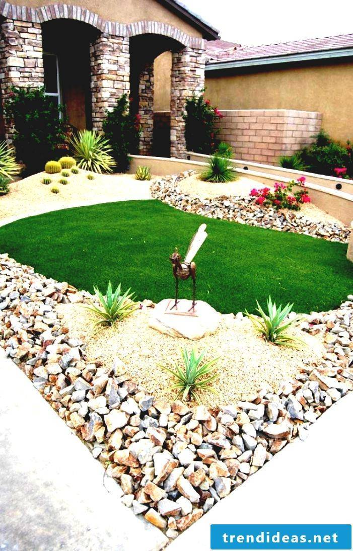 Creating a stone bed front garden: Use different types of stones