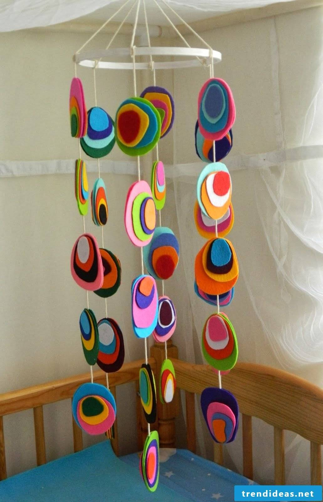 Colorful mobile made of felt