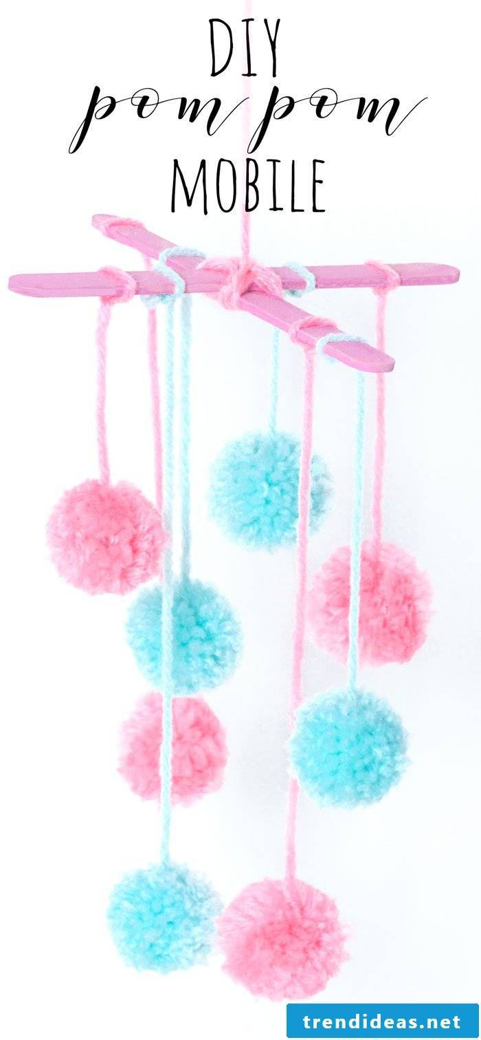 Mobile with PomPoms to make your own
