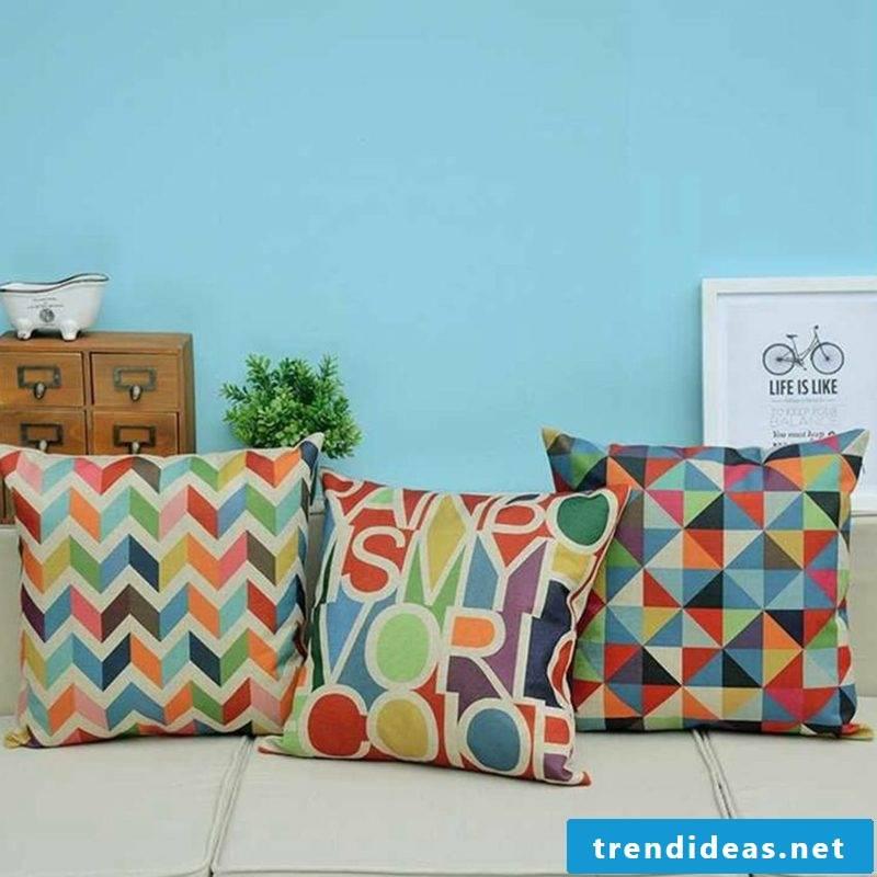 Cushion design colorful geometric pattern