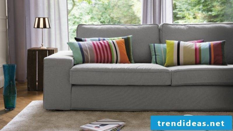 Sofa cushions large stripe pattern