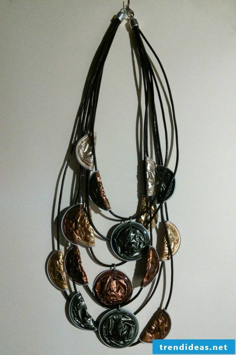 Jewelry from Nespresso capsules stylish long necklace