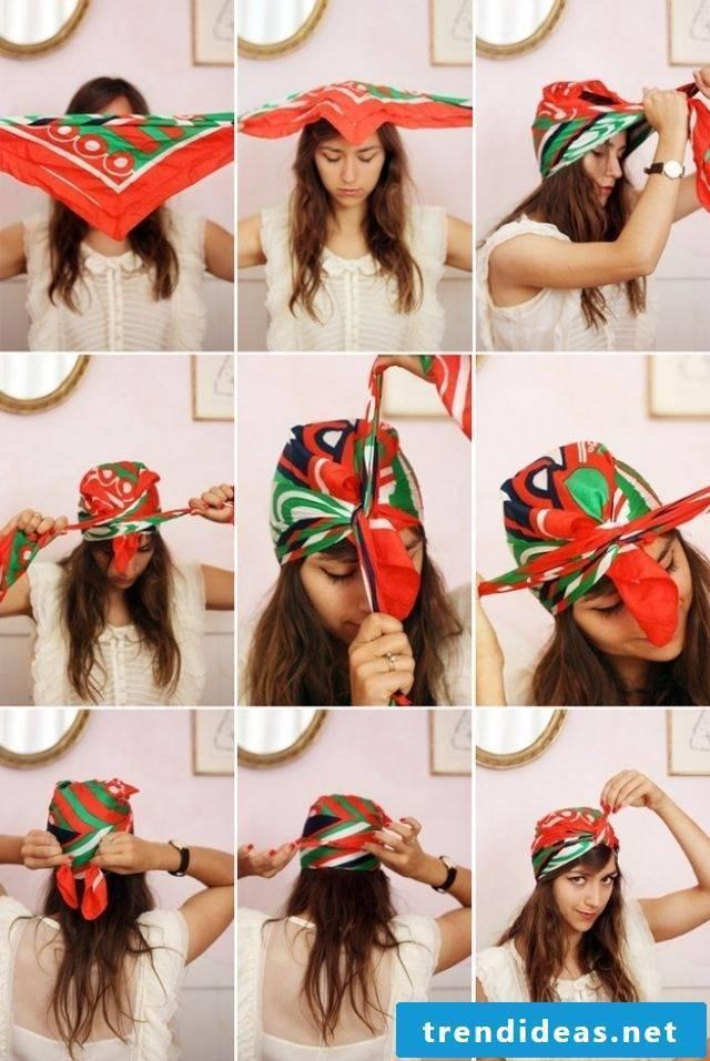 Headscarf tying instructions