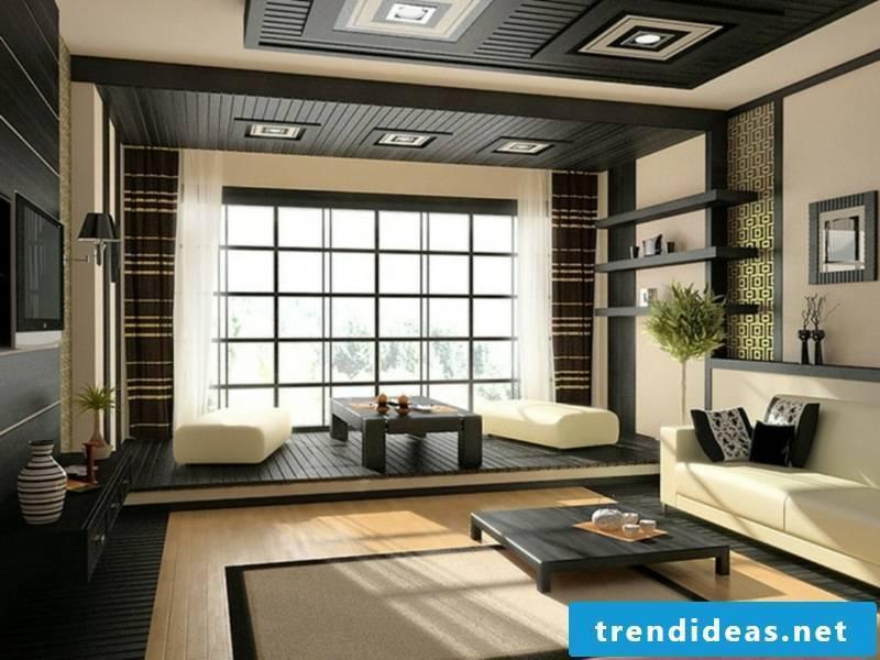 the dark ceiling accentuates the furniture