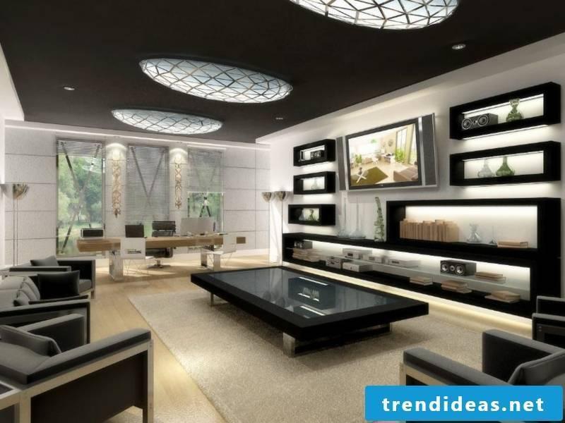 Modern lighting on the dark ceiling