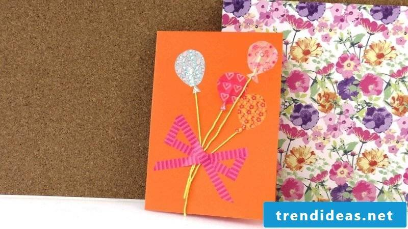 Birthday cards design yourself in orange color with baloons