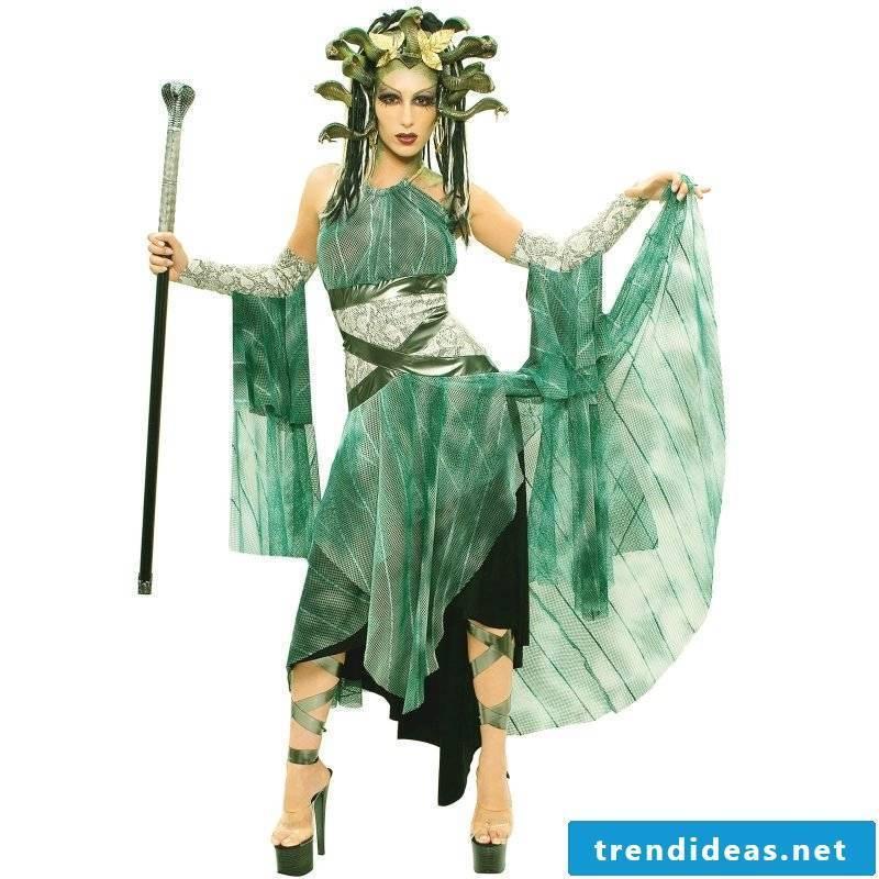 medusa costume green