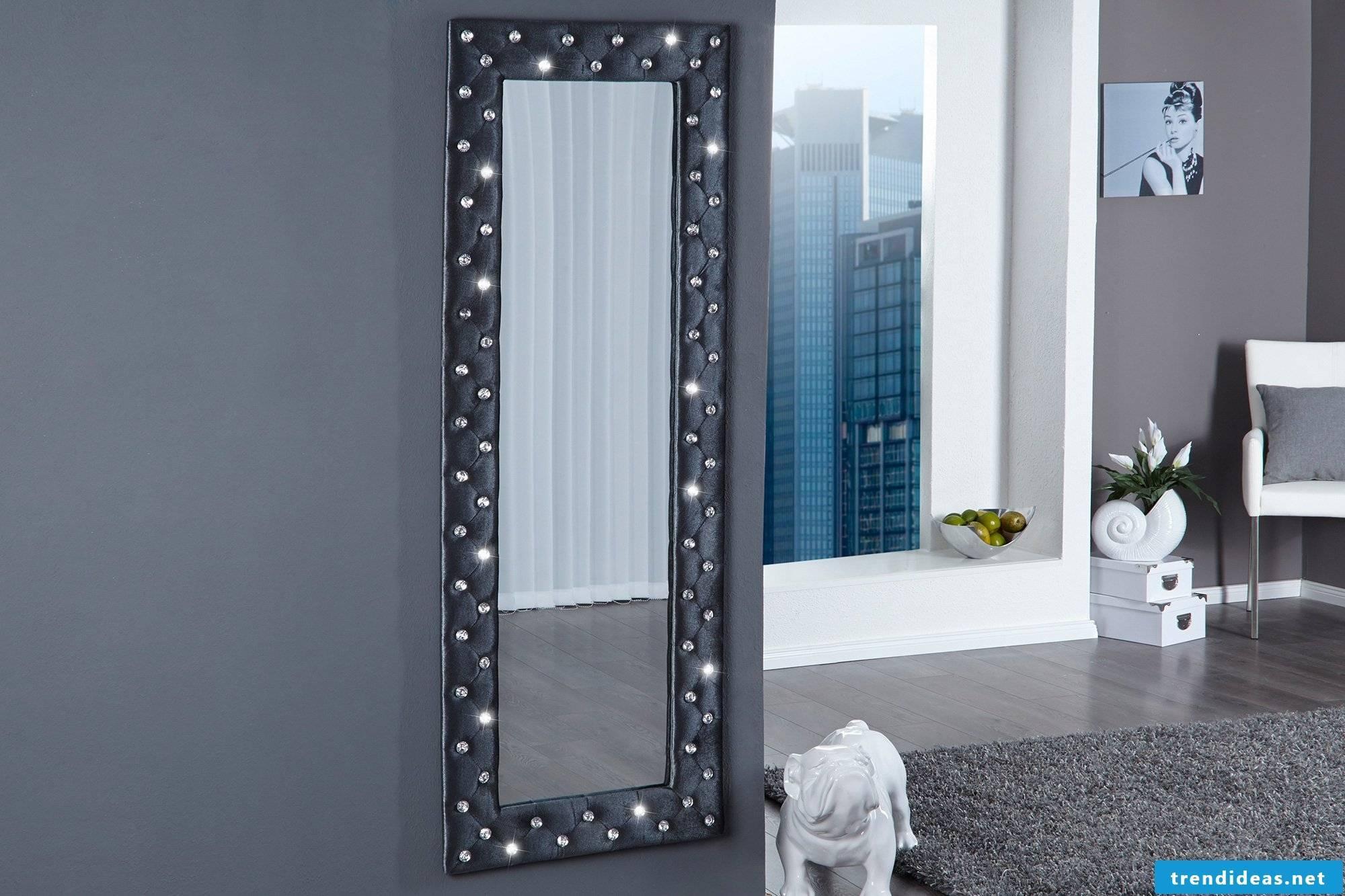 black designer mirror